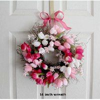Small Tulip Spring Wreath for front door Spring Decoration Tulip Wreath, Floral Wreath, Wedding Wreaths, Decor Wedding, Spring Front Door Wreaths, Drops Patterns, Pink Tulips, Summer Wreath, Spring Colors