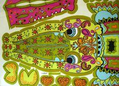Belinda Lyon cut out cushion design for Oxfam Vintage Love, Vintage Signs, Retro Vintage, Pattern Art, Print Patterns, 70s Kitchen, 70's Style, Retro Print, Rag Dolls
