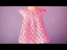 Crochet Flower Stitch Dress For Baby - Crochet Ideas Crochet Dress Girl, Crochet Jumper, Crochet Girls, Crochet Baby Clothes, Crochet For Kids, Crochet Flower, Little Girl Dresses, Girls Dresses, Baby Dresses