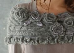 Grey shawl with roses