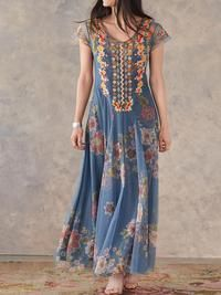 Mostata Bohemian Blue Embroidered Sweet Mexican Dresses - Blue S Daytime Dresses, Casual Dresses, Women's Dresses, Sleeveless Dresses, Floral Dresses, Casual Clothes, Fashion Prints, Boho Fashion, Estilo Hippie