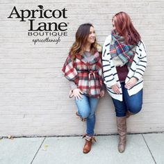 "Come get Cozy! Plaid Vest $68, Denim $78, Boots on left $52, Boots on right $78. Call (920)634-2620 to order, or click the ""shop here"" tab on our Facebook page. #fall #autumn #instafashion #apricotlane #apricotlanegb #greenbay #shop #ship"