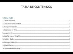Crear una Tabla de Contenido en Microsoft Word - YouTube