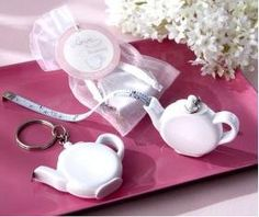 Wedding Favors Teapot Tape Measure Keychain FREE SHIPPING