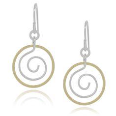 Journee Collection Sterling Handmade Swirl Circle Dangle Earrings