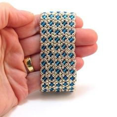 Beading Tutorial Stained Glass Window Bracelet, Beading pattern with Cube Beads, and - Right Angle Weave Bracelet Pattern, PDF Woven Bracelets, Seed Bead Bracelets, Seed Beads, Bead Embroidery Patterns, Beading Patterns, Knitting Patterns, Diy Jewelry Necklace, Bead Jewelry, Bracelets