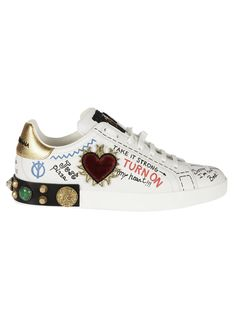 Dolce & Gabbana, Dolce Gabbana Sneakers, Girls Sneakers, Sneakers Fashion, Custom Boots, Beautiful Shoes, Leather Sneakers, White Leather, Loafers Men