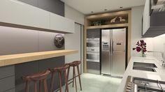 #projetosHAUS Cozinhar é muito bom, e cozinhar em uma cozinha assim então?? Projeto casaSASSINUNES tons de cinza trazem sofisticação e elegância ao ambiente. Destaque para a parede de tijolos.      #Haus #HausEngenho