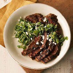 Southwest Flank Steak with Fresh Tomatillo Salsa. Nutrition Facts Per Serving:  Servings Per Recipe: 4 PER SERVING: 243 cal., 11 g total fat (4 g sat. fat), 57 mg chol., 231 mg sodium, 3 g carb. (1 g fiber, 2 g sugars), 31 g pro.