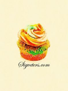 Hand-painted watercolor illustrations - food - cake dessert Series - blending cupcakes.