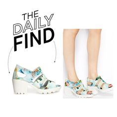 The Daily Find: ASOS Blue Floral Mid-Heeled Sandals, created by polyvore-editorial on Polyvore