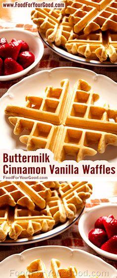 Buttermilk Cinnamon Vanilla Waffles   FoodForYourGood.com #buttermilk_cinnamon_vanilla_waffles