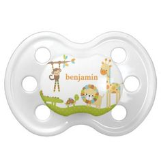 Cute Jungle Animal Pacifier Pacifiers #pacifier #baby #personalized #binkie