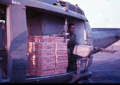 Huey full of Budwiser - it's sad, these guys are fighting for their country in Vietnam and all they got was this shitty beer to drink! ~ Vietnam War