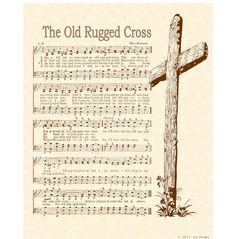 OLD RUGGED CROSS 8 x 10 Antique Hymn Art Print by VintageVerses
