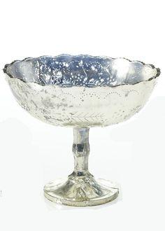 Silver Mercury Glass Pedestal Bowl | Vintage Wedding Ideas | Afloral