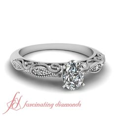 Oval Shaped and Round Diamonds 14K White Gold Milgrain Engagement Ring in Pave Setting || Filigree Fretwork Ring