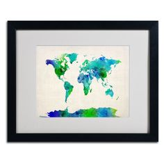 World Map Watercolor by Michael Tompsett Matted Framed Painting Print