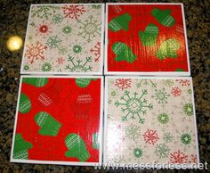 Christmas Coasters from messforless.net; Check Digital Arts & Crafts Board for More Coaster Tutorials
