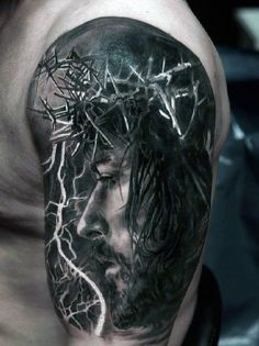 Realistic Cool Jesus Arm Tattoos For Men