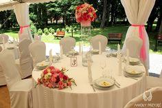 13. Pink Wedding,Tent,Round tables,Centerpiece / Różowe wesele,Namiot,Dekoracje stołów,Anioły Przyjęć