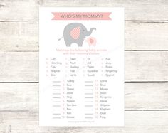 baby shower game printable elephant pink grey matching game who's my mommy baby girl shower digital games - INSTANT DOWNLOAD on Etsy, $5.67 CAD