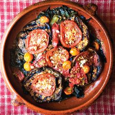 Damaged Goods Gratin with tomatoes, eggplant and chard