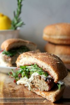 Rosemary-Lemon Turkey Burgers with Brie, Raspberry Jam  Arugula