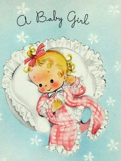 New Baby card Rosy Cheeks Made from a vintage card