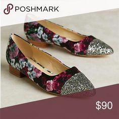 Anthropologie Billy Ella Shimmerd Flat Billy Ella Anthropologie Shimmerd Toe Flat features:  Fits true to size Floral Print  cotton upper glitter/ sequin Leather insole, sole Small Heel  Box Included Anthropologie Shoes Flats & Loafers