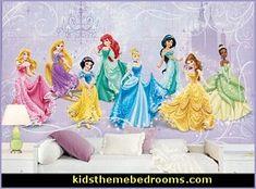 Princess Bedrooms   Decorating Girls Cinderella Fairy Princess Theme   Princess  Wall Murals   Disney Princess
