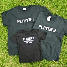 """Sibling Shirts: Gamer Theme!  """"Player 3 has entered the game!""""  Cute for 3 kids!"""