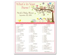 Printable Whimsey Owl Whimsical Girl Baby Shower What's In Your Purse Game. $8.00, via Etsy.