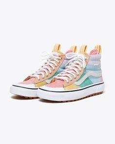 Pastel Converse, Pastel Shoes, Cute Vans, Cool Vans Shoes, Converse Shoes, Sk8 Hi Vans, Hi Top Vans, Tenis Vans, Colorful Sneakers