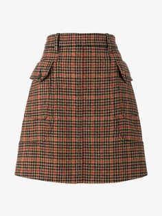 PRADA HOUNDSTOOTH A-LINE MIDI SKIRT. #prada #cloth #