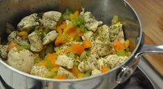 Herbed Chicken and Rice  This is just good old chicken and vegetables.  The marinating and slow-cooking are the secrets to full tender flavor.