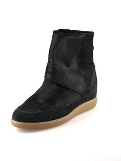 ISABEL MARANT Norwood Black Pony Hair Wedge Ankle Boots Size 37 | Socialite Auctions