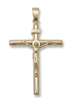 14k yellow gold very large hollow crucifix