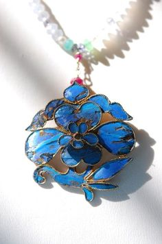 Estate Antique Chinese Kingfisher Pendant on 14K Ruby Aquamarine Necklace