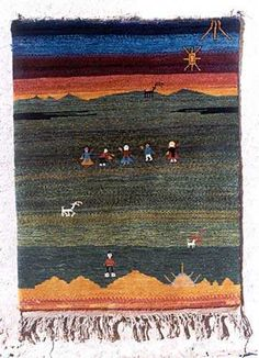 Iranian Gabbeh Carpet, depicts a story of the weavers life