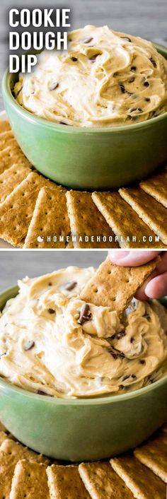 Cookie Dough Dip! Dazzle your guests by serving up dessert first with this ultra-creamy chocolate chip cookie dough dip recipe. It's also eggless and no bake! | HomemadeHooplah.com