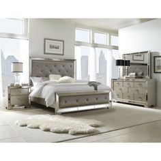 Celine 5-piece Mirrored and Upholstered Tufted King-size Bedroom Set | Overstock.com Shopping - The Best Deals on Bedroom Sets