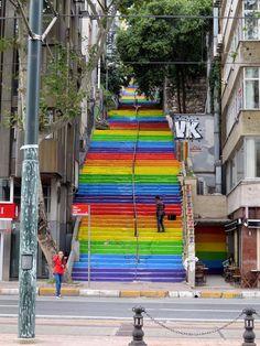 Rainbow staircase, karaköy i wants selfie wiz that!!!