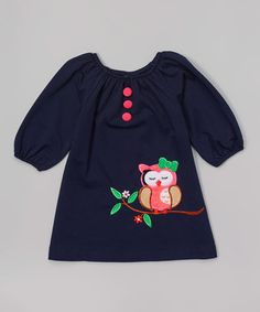 Navy Owl Puff-Sleeve Dress - Toddler & Girls