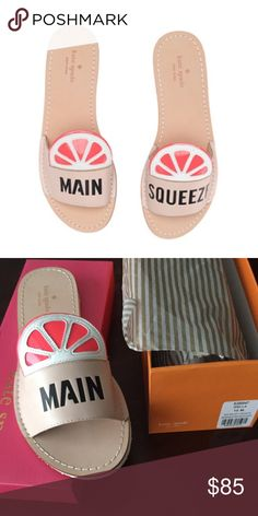KS pucker up grapefruit sandals flip flops pink Brand new in box! Kate Spade MAIN