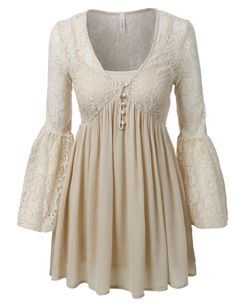 LE3NO Womens Lace V Neck Bell Sleeve Flared Tunic Dress