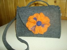 Felt bag with flower