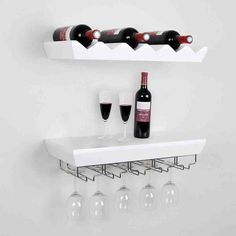 Wall Mounted Bottle Wine Rack Shelves With Glass Holder Set, White contemporary-wine-racks Wine Rack Shelf, Wine Glass Shelf, Wine Glass Storage, Built In Wine Rack, Hanging Wine Rack, Glass Shelves Kitchen, Wine Shelves, Wood Wine Racks, Wine Rack Wall