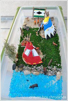 Verteltafel indianen (pocahontas). Native American Small World w/ Teepee & Drum Craft @ Crayon Box Chronicles