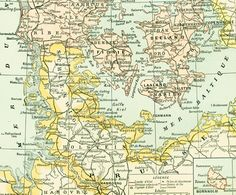 1897 Carte du Danemark Geographie Vintage Nouveau Larousse illustré Grand Format Illustration 115 ans d'âge